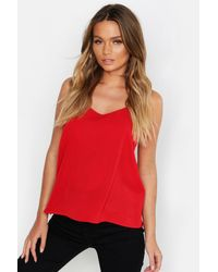 Boohoo Red Woven Cami