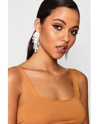 Boohoo - Metallic Beaded Cluster Drop Earrings - Lyst
