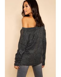 Boohoo - Gray Sweater With V Neck Detail Front And Back - Lyst
