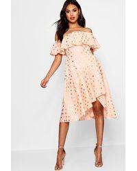 Boohoo - Pink Boutique Rose Metallic Polka Dot Skater Dress - Lyst