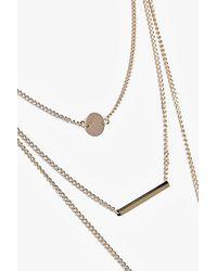 Boohoo - Metallic Crystal And Bar Layered Necklace - Lyst