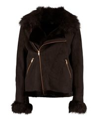Boohoo - Black Boutique Faux Fur Collar And Cuff Aviator Jacket - Lyst
