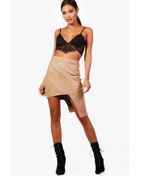 Boohoo - Multicolor Rose Suedette Dip Stud Hem Mini Skirt - Lyst