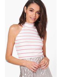 Boohoo - Pink Zoe Stripe Turtle Neck Sleeveless Top - Lyst
