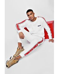 Boohoo White Man Sport Sweater Tracksuit With Taping for men