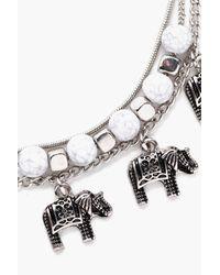 Boohoo | Metallic Paige Elephant Layered Anklet | Lyst