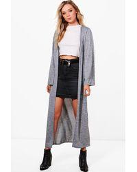 Boohoo | Gray Sarah Maxi Knitted Kimono Cardigan | Lyst