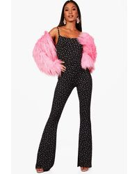 Boohoo - Black Cat Square Neck Heart Print Jumpsuit - Lyst