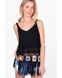 Boohoo - Black Maisie Multi-colour Crochet Tassel Hem Vest - Lyst