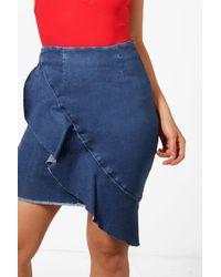 Boohoo - Blue Bodycon Frill Front Denim Mini Skirt - Lyst