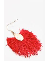 Boohoo - Red Nicole Fringed Tassel Earrings - Lyst
