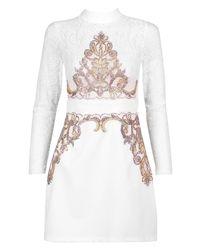 Boohoo - White Petite Tina Turtle Neck Trim Detail Mini Dress - Lyst