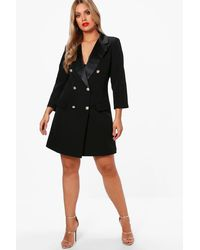 Boohoo - Black Plus Button Tuxedo Dress - Lyst