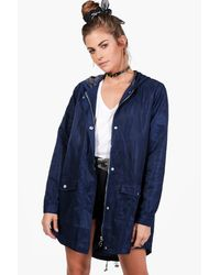 Boohoo - Blue Megan Dip Hem Hooded Parka - Lyst