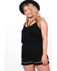 Boohoo - Black Plus Katie Crochet Trim Short - Lyst