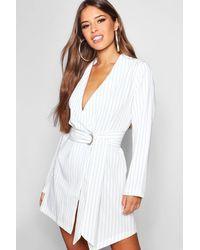 34446ca92653d Boohoo Petite Pinstripe Tie Side Blazer Dress in White - Lyst