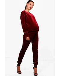3cd6ab1db81a6 Boohoo Maternity Velvet Top + Jogger Lounge Set in Red - Lyst