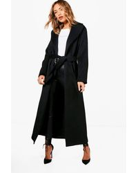 Boohoo - Black Lucy Belted Maxi Wool Look Coat - Lyst