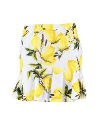 Boohoo - White Petite Woven Lemon Print Ruffle Hem Skirt - Lyst