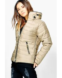 Boohoo Natural Lucy Quilted Padded Jacket