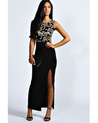 Boohoo - Black Jasmine Sequin Top Front Split Maxi Dress - Lyst