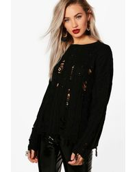 Boohoo - Black Holly Distressed Cable Jumper - Lyst