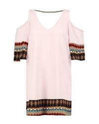 Boohoo - Pink Plus Betty Printed Open Shoulder Shift Dress - Lyst