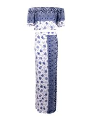 Boohoo - Blue Mia Paisley Off The Shoulder & Maxi Skirt Co-ord - Lyst