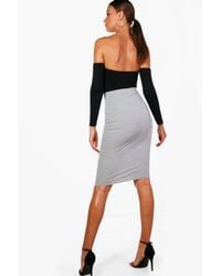 Boohoo - Black Tall Basic Jersey Midi Tube Skirt - Lyst