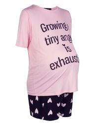 Boohoo - Pink Maternity Claire Growing In Tiny Angel Pj Set - Lyst