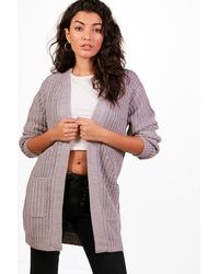 Boohoo - Gray Amelie Edge To Edge Cardigan - Lyst