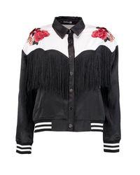 Boohoo - Black Eliza Boutique Western Yoke Tasselled Bomber - Lyst