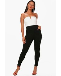 Boohoo - White Bandeau Contrast Jumpsuit - Lyst