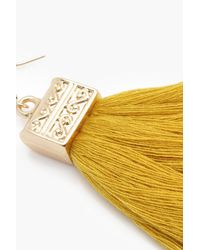 Boohoo - Yellow Engraved Detail Tassel Fringe Earrings - Lyst