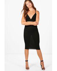 Boohoo Black Tall Esme Ribbed Bralet & Skirt Co-ord Set