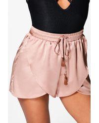 Boohoo - Multicolor Satin Split Front Tassel Trim Shorts - Lyst