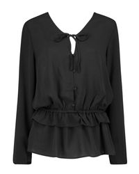 Boohoo - Black Hailey Tie Neck Ruffle Hem Blouse - Lyst