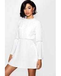 1ecd25f31e529 Boohoo Lace Insert Bohemian Skater Dress in White - Lyst