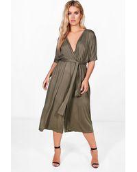 e3f65807024 Boohoo Plus Jersey Kimono Sleeve Wrap Jumpsuit - Lyst