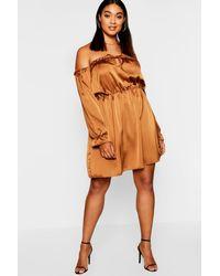 9c02105faf30 Lyst - Boohoo Plus Off Shoulder Satin Skater Dress in Brown