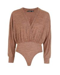Boohoo - Brown Batwing Plunge Knit Bodysuit - Lyst