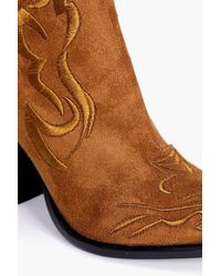 Boohoo - Brown Lola Stitch Detail Western Boot - Lyst