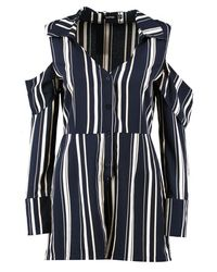 Boohoo - Blue Cold Shoulder Striped Shirt Playsuit - Lyst