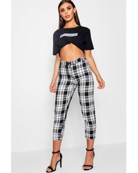 367b5b11a7d1 Boohoo Petite Checked High Waisted Tapered Trouser in Black - Lyst