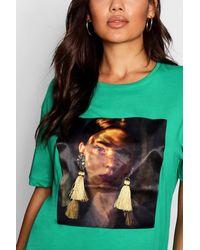 Boohoo - Green Tassle Earring Face T-shirt - Lyst