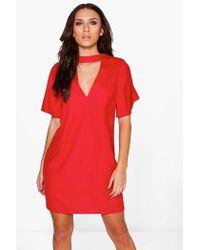 Lyst - Boohoo Thea Choker Flute Sleeve Shift Dress in Red a98bb9853