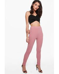 Boohoo - Pink Crepe Stretch Skinny Trousers - Lyst
