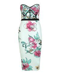 Boohoo - Green Floral Print Bustier Detail Midi Dress - Lyst