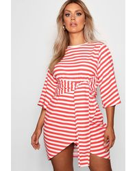 ca717d786230 Boohoo Plus Elle Stripe Kimono Sleeve Tie Waist Wrap Dress in Red - Lyst
