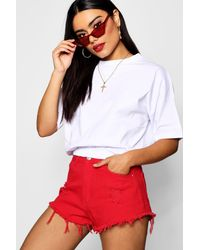 Boohoo - Red Elasticated Crop T-shirt - Lyst